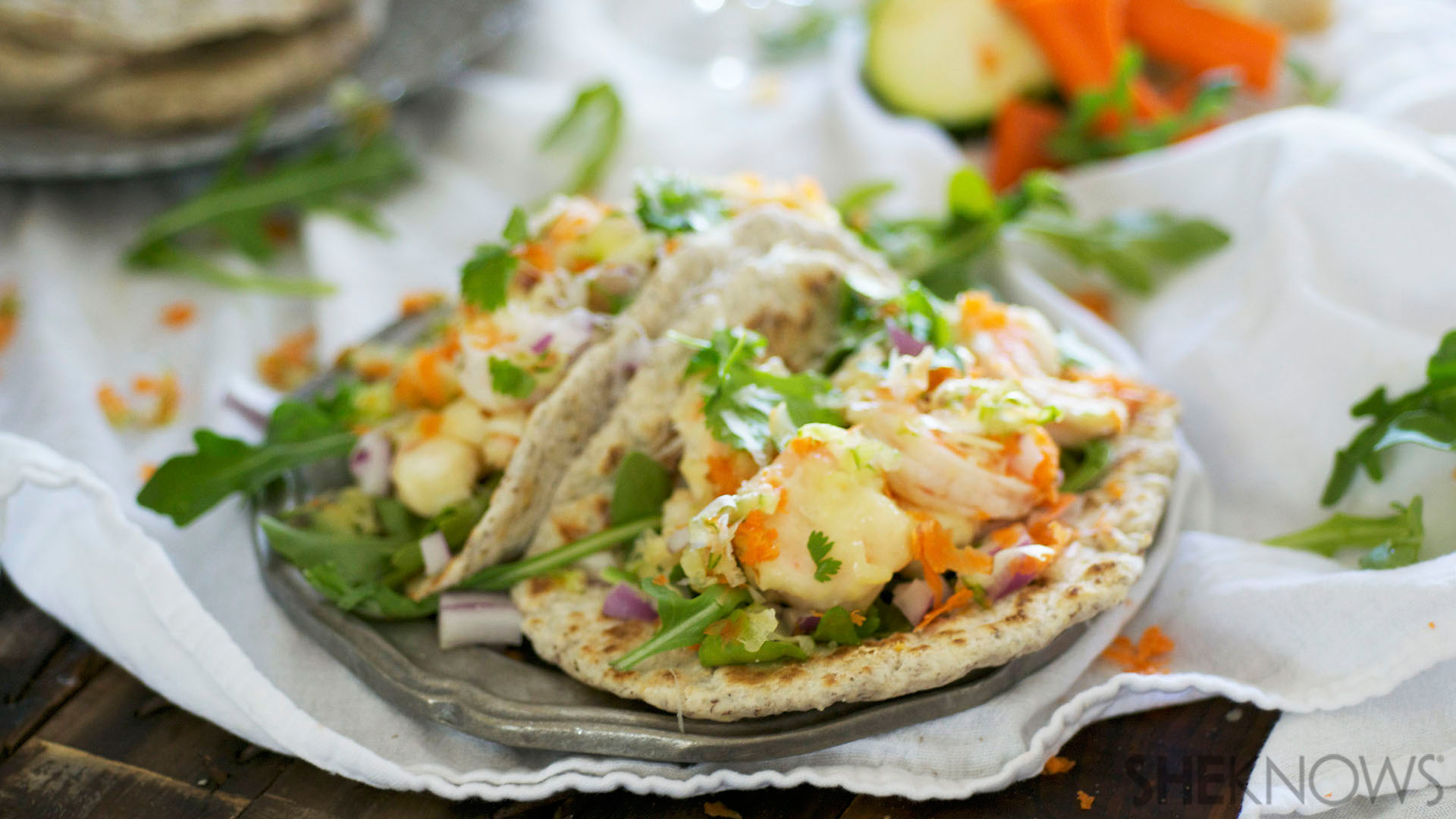 Tempura shrimp & veggie tacos in fluffy flax seed tortillas