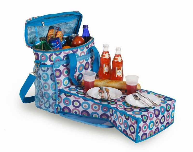 Insulated Cooler Beach Tote With Collapsable Mini-table | Sheknows.com