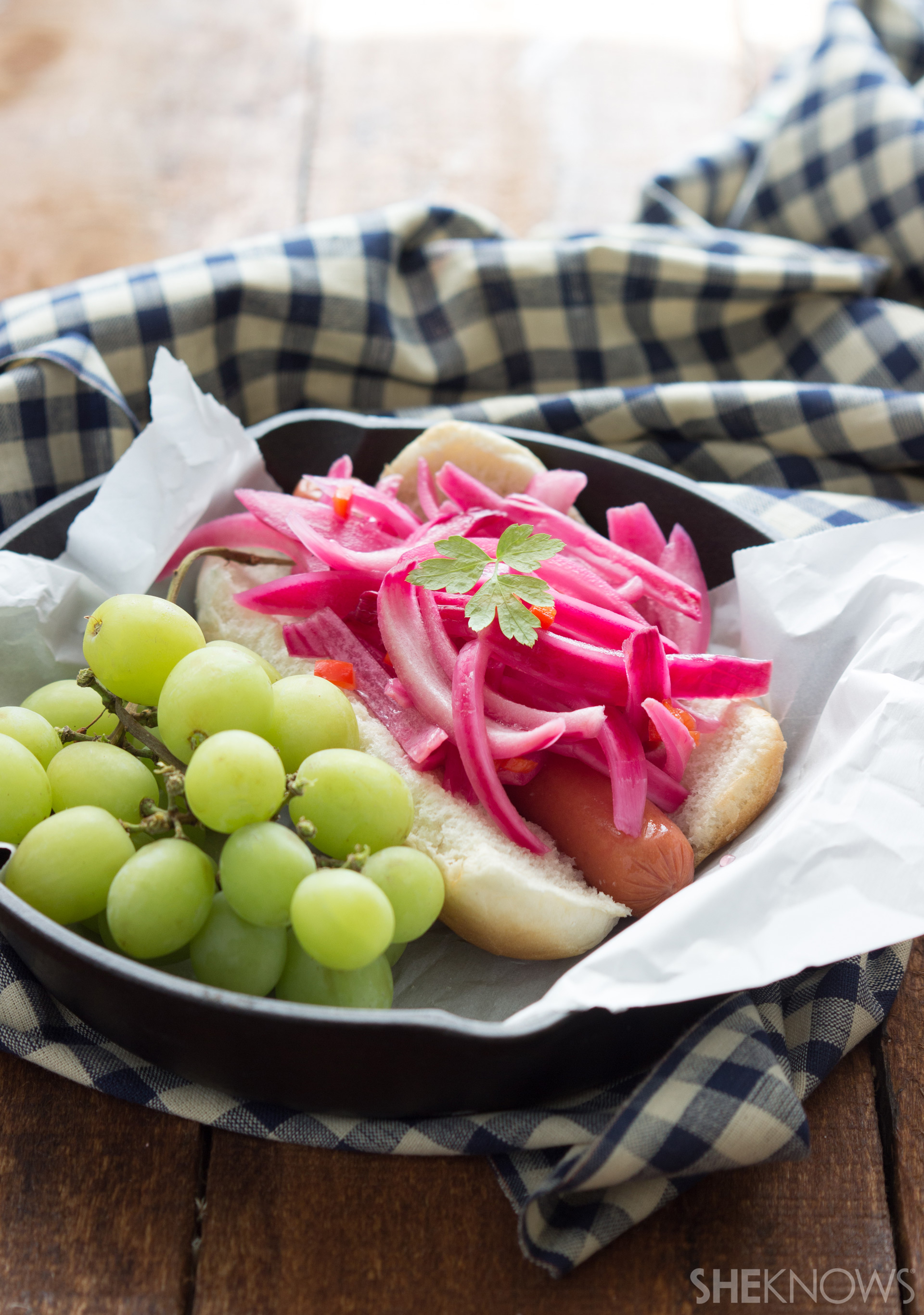 Pickled habanero onion topped hot dog | Sheknows.com