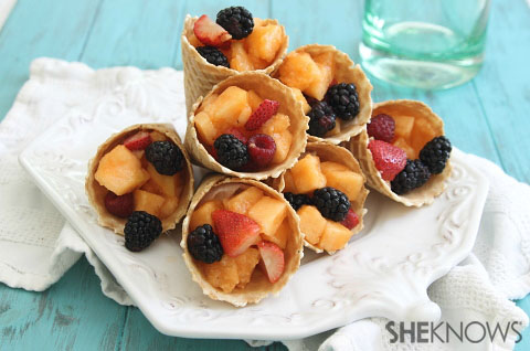 Fruit filled waffle cones