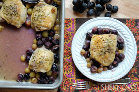chicken and roasted grapes