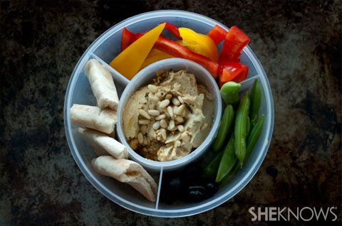 Hummus plates with fresh veggies recipe
