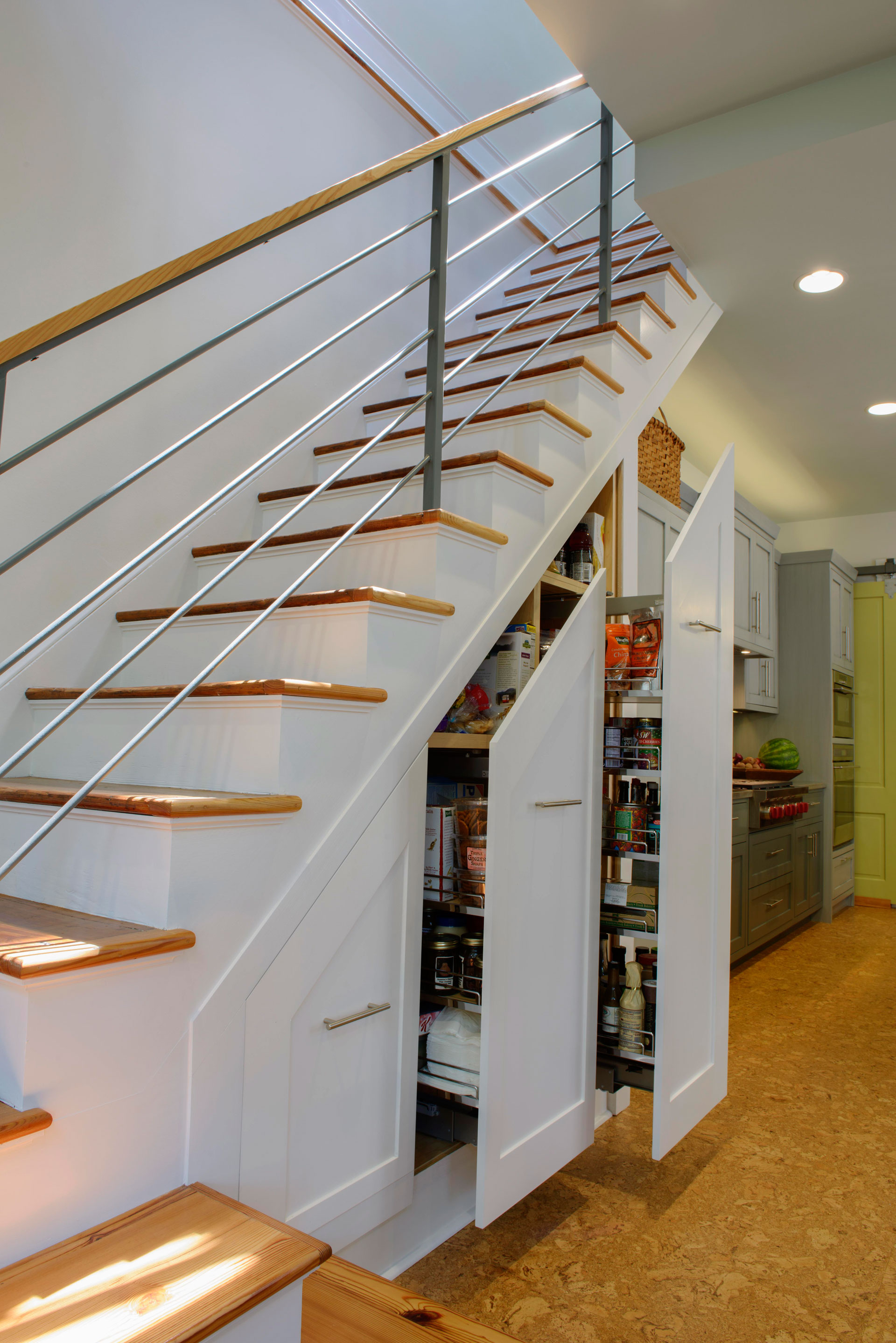 Under the stairs slide-out pantry