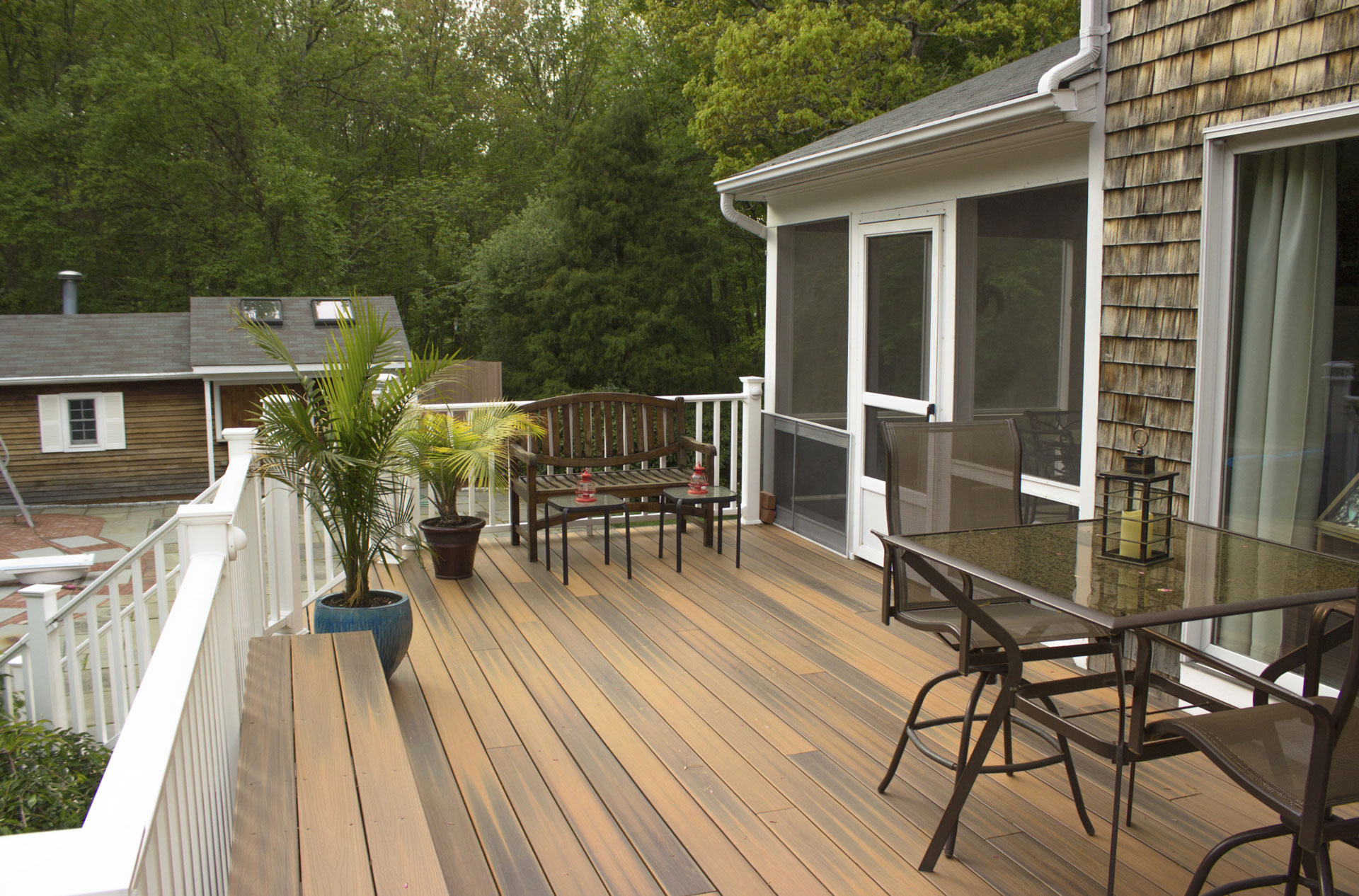 An oversized outdoor deck
