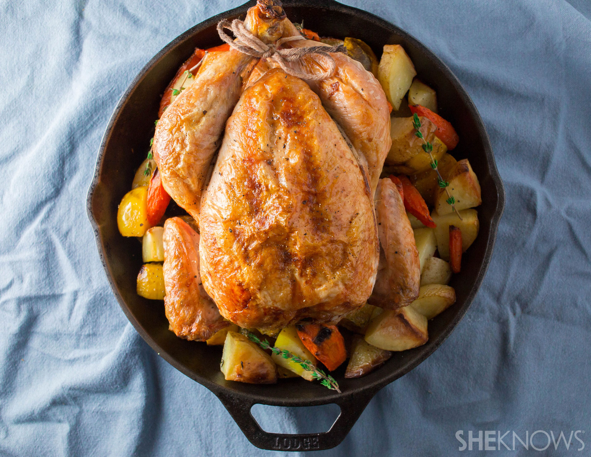 One pan whole roast chicken and root vegetables l SheKnows