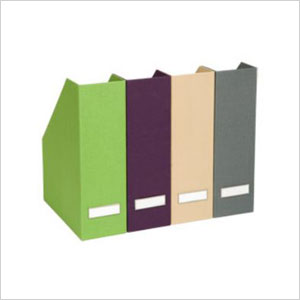 Fabric-covered vertical files