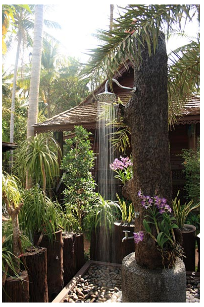 Tree shower at Baan Habeebee Resort