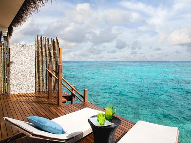 Ocean view outdoor shower in the Maldives