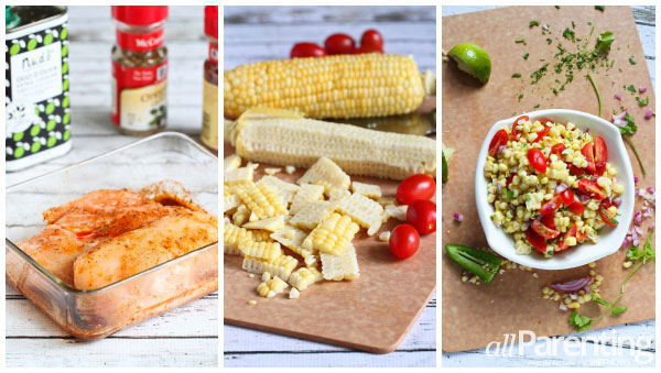 allParenting Grilled chicken with corn salsa prep collage