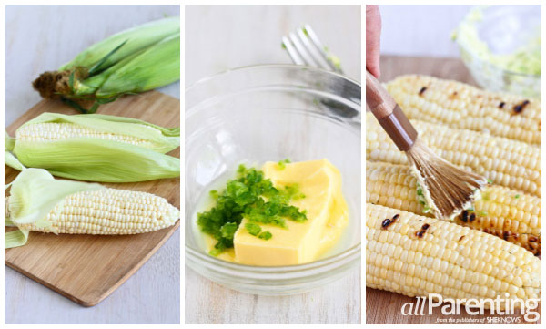 allParenting Grilled corn with lime & jalapeno butter prep collage