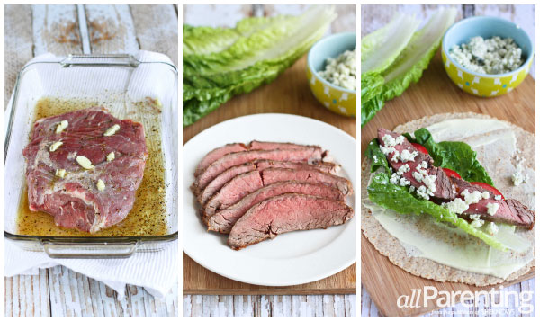 allParenting Grilled steak & Gorgonzola wraps prep collage