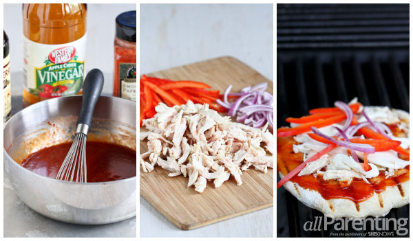 allParenting Grilled barbecue chicken pizza prep collage