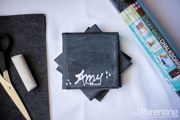 Chalkboard crafts- Chalkboard coasters