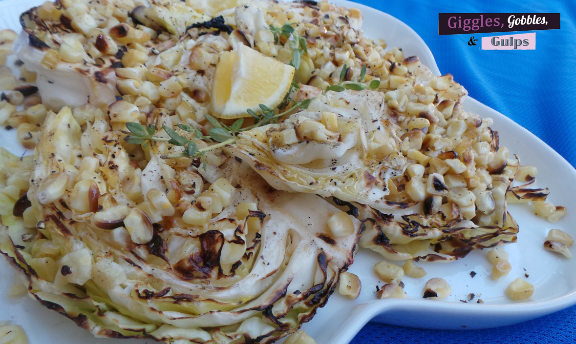 Summer grilled cabbage and corn