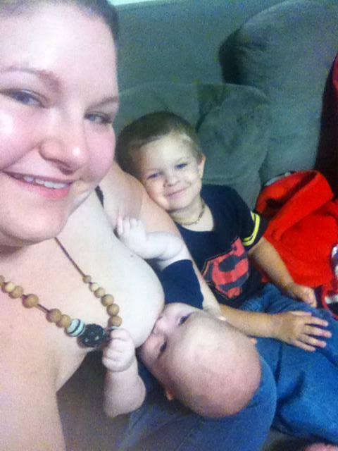 Kristina Gray, breastfeeding son