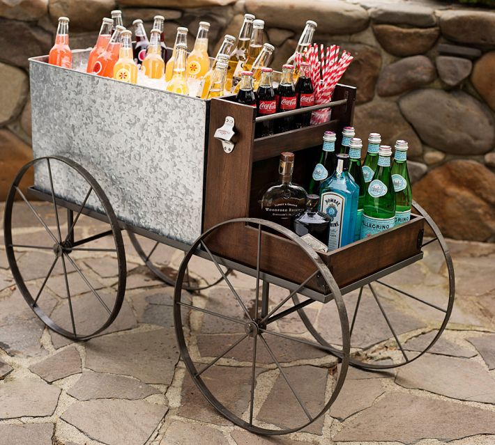 Outdoor living- Galvanized metal caravan bar cart