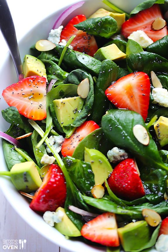 Simple summer salads- Avocado strawberry spinach salad with poppyseed dressing