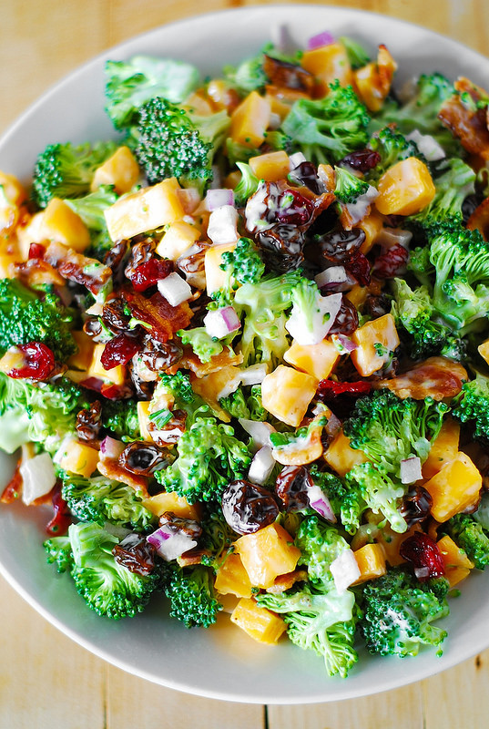 Simple summer salads- Broccoli salad with bacon, raisins and cheddar cheese
