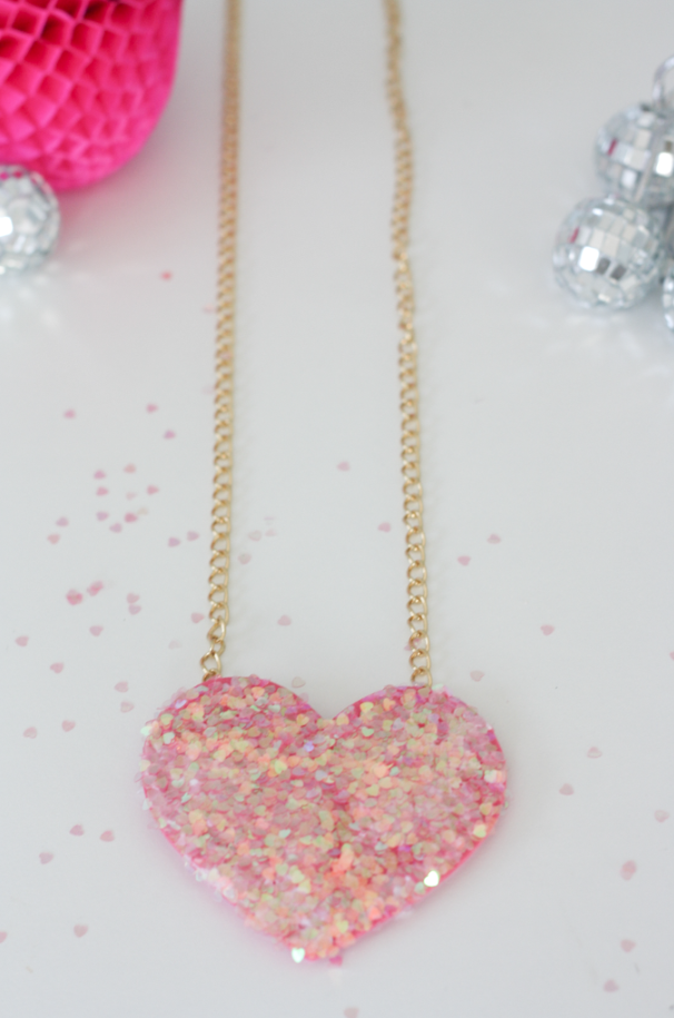 Disco ball heart necklace