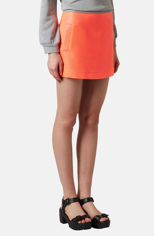 Topshop Diamond Quilted Miniskirt