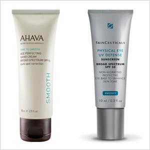 Our picks: AHAVA Age Perfecting Hand Cream SPF 15 (ahavaus.com, $32) ; Skinceuticals Physical Eye UV Defense SPF 50 (skinceuticals.com, $30)