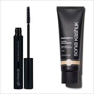 Our picks: gloProfessional Water Resistant Mascara (gloProfessional.com, $20) ; Sonia Kashuk Radiant Tinted Moisturizer with SPF 15 (target.com, $14)