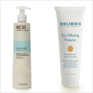 Our picks: eos Nourish Revitalizing Care Hand & Body Lotion (drugstore.com, $8);Bioelements Sun Diffusing Protector Broad Spectrum SPF 15 Sunscreen (bioelements.com, $39)