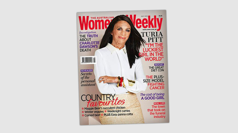 uria Pitt posing on the cover of The Australian Women's Weekly