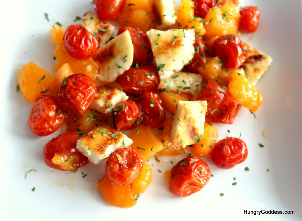 Grilled halloumi, roasted tomatoes and apricots with honey wine vinegar recipe
