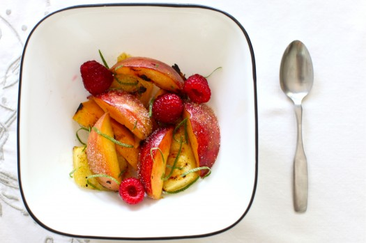 Grilled fruit salad with lime
