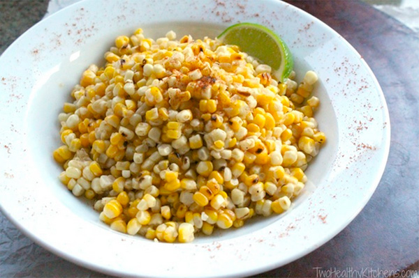 Grilled corn salad with non-fat chili lime dressing