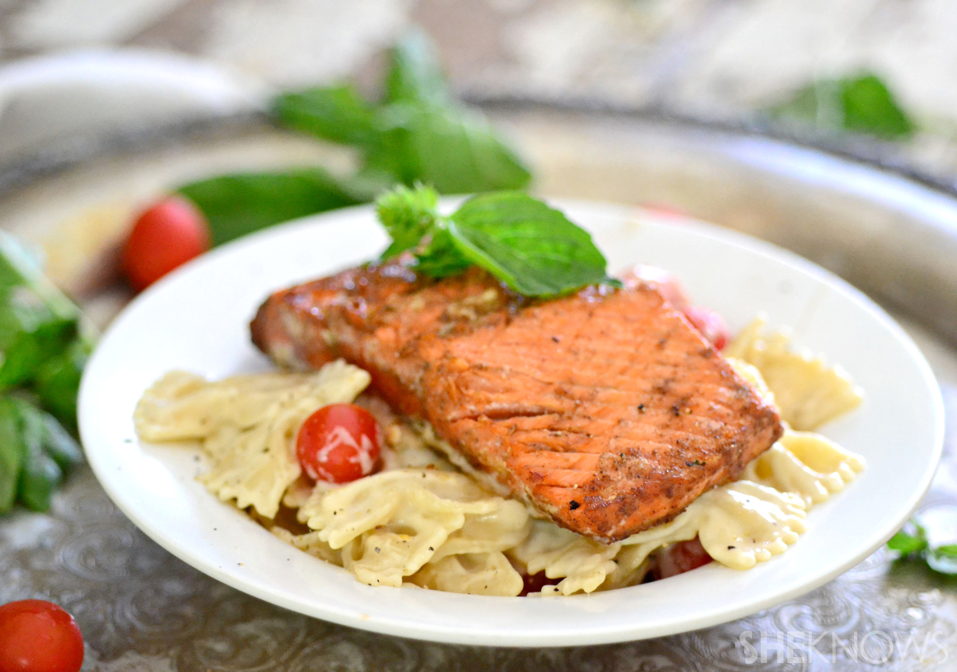 Blackened cajun salmon with creamy pasta