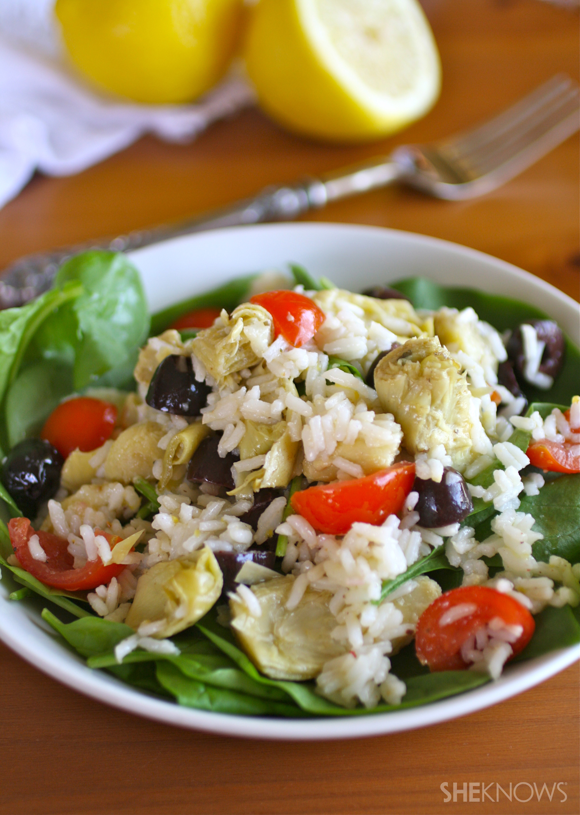 Artichoke and rice salad with lemon-pepper dressing