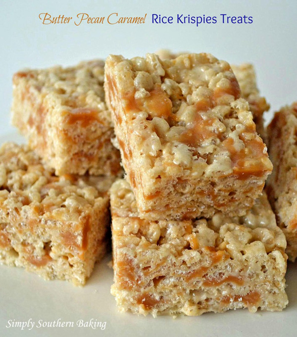 Butter pecan caramel rice krispies treats