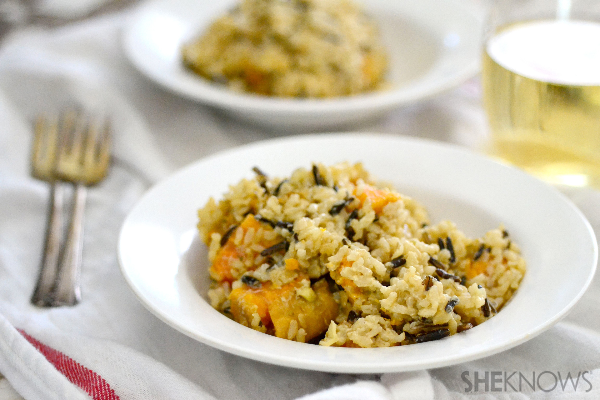 Creamy rice pilaf with coconut milk and sweet potatoes