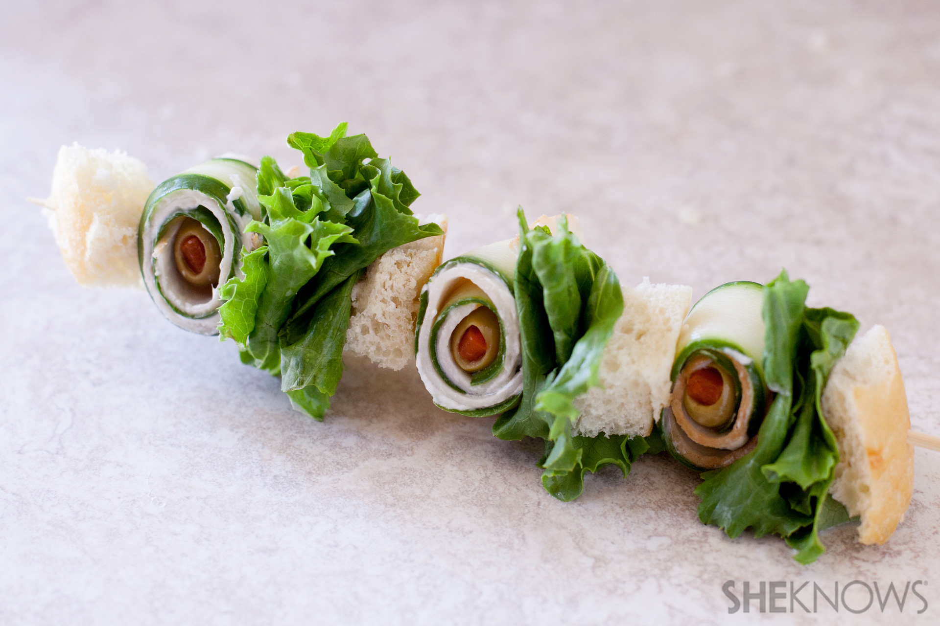 Fancy sandwich skewers
