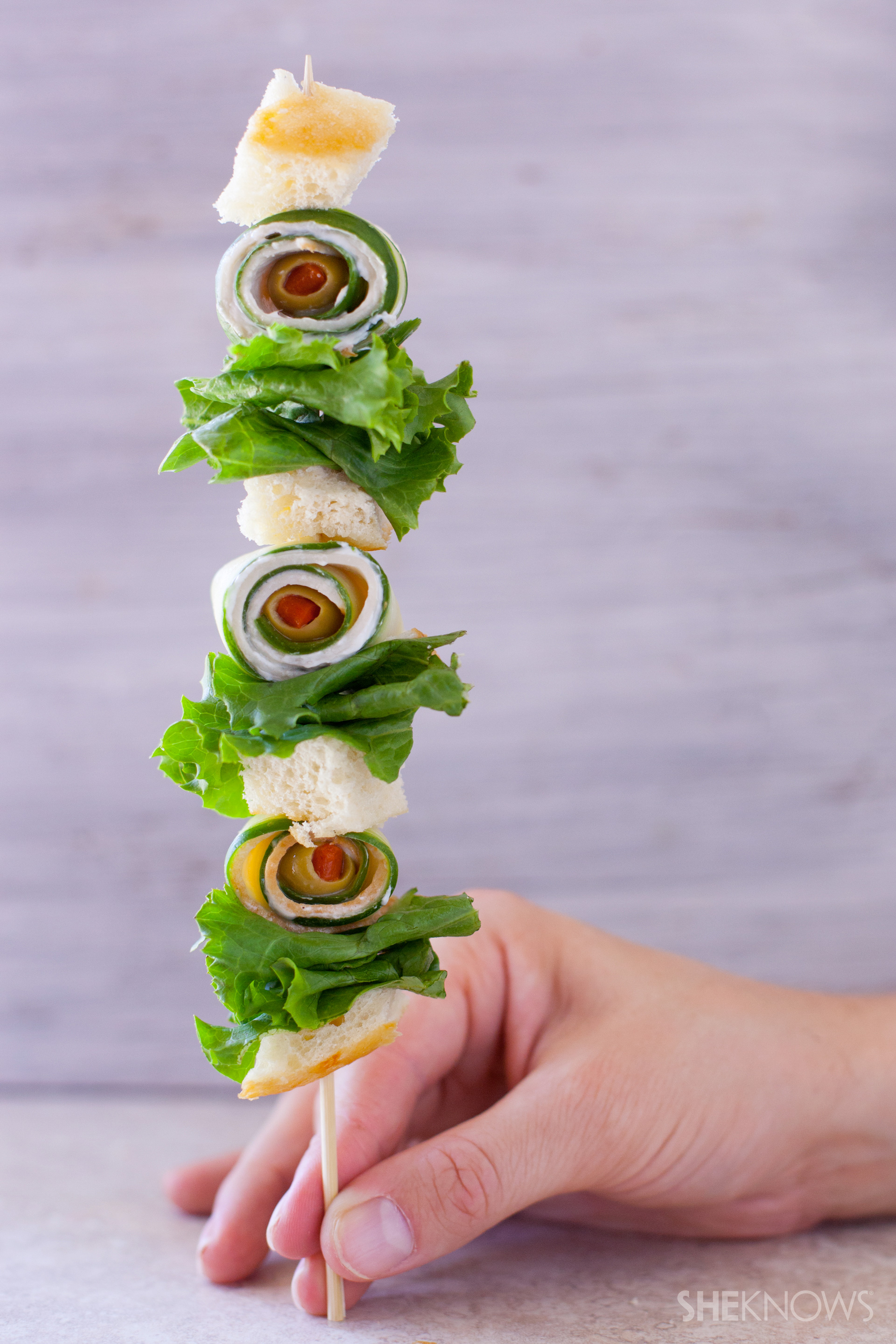 Turkey cucumber sandwich skewer