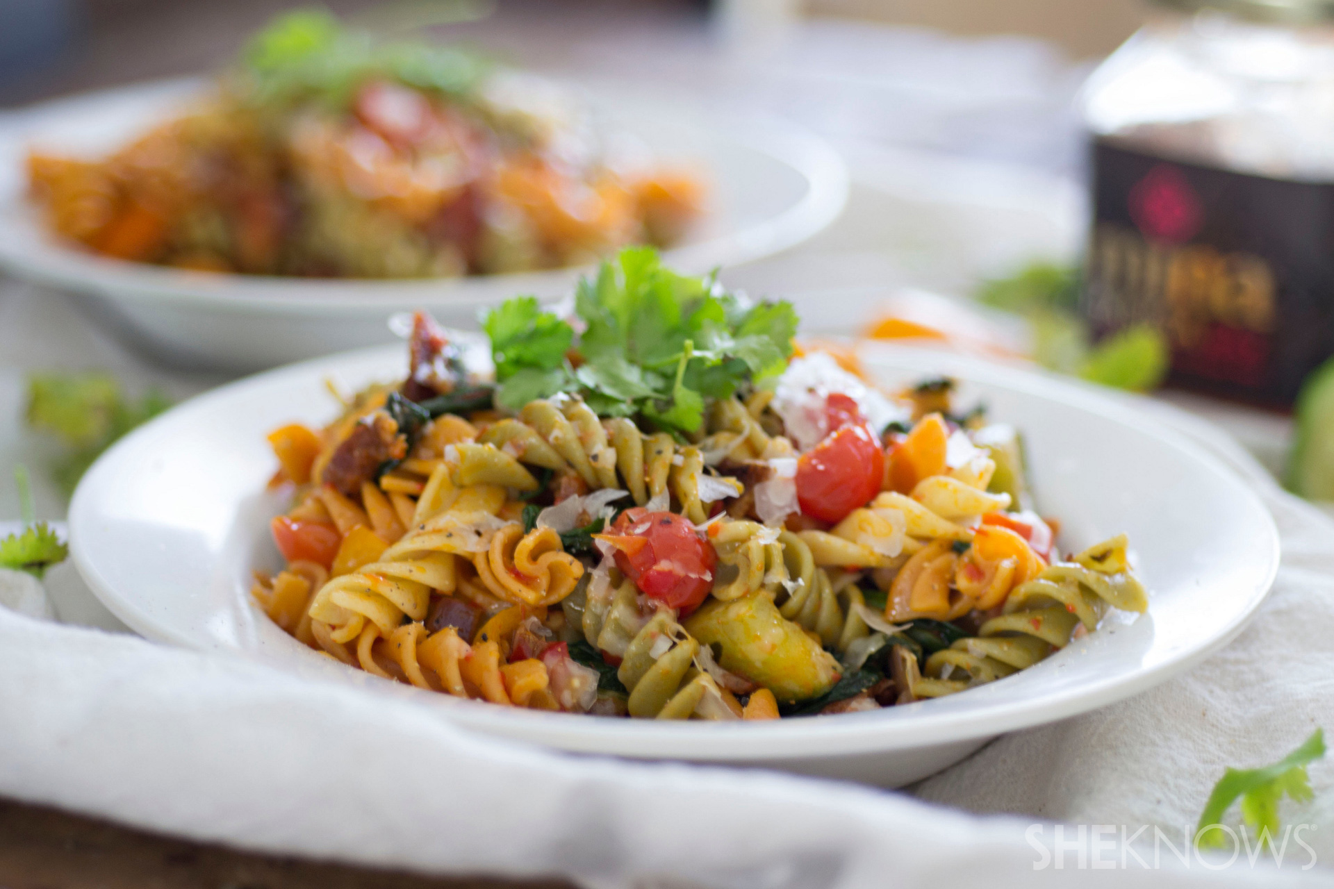 Spicy harissa pasta salad