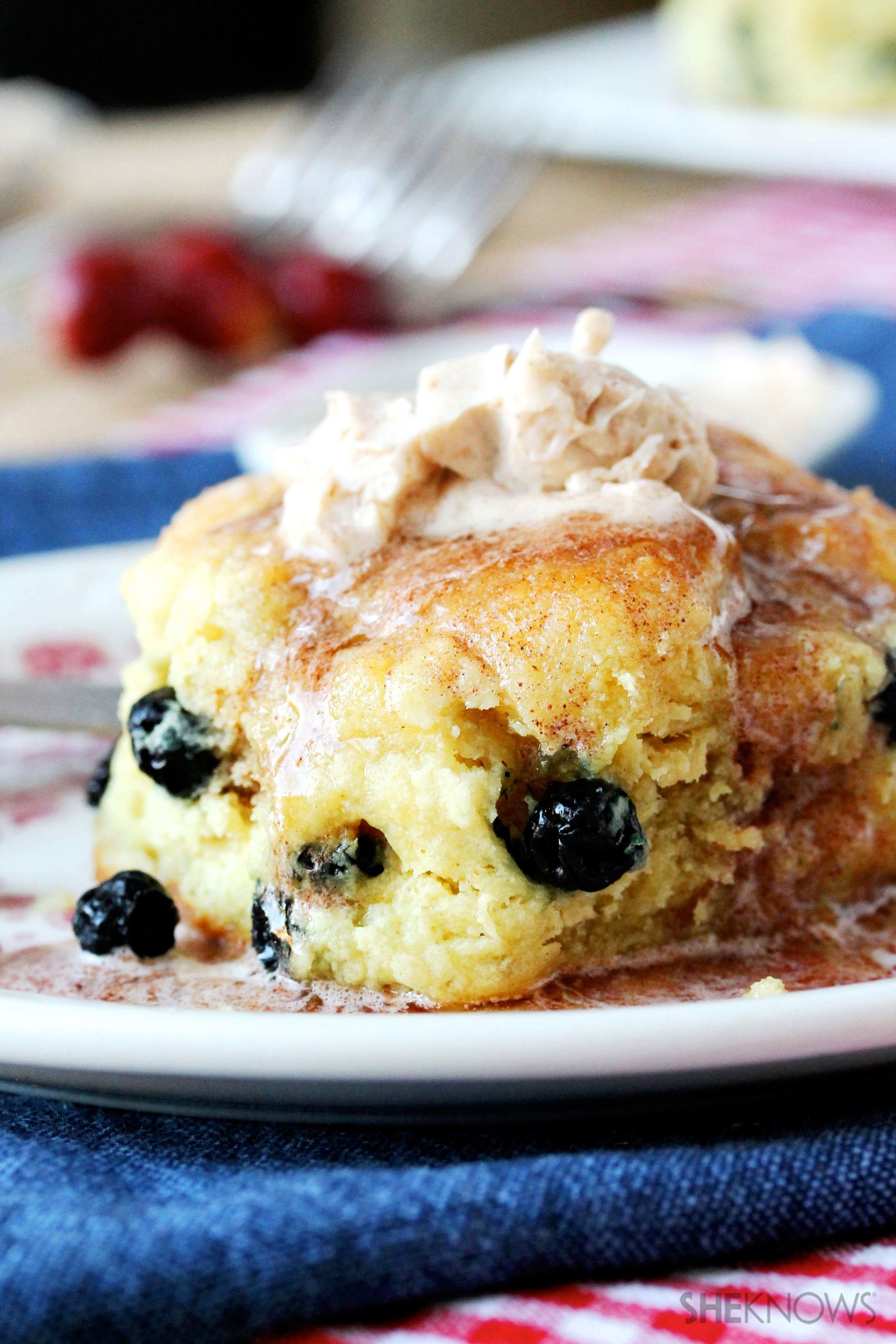 Blueberry-studded biscuits for breakfast