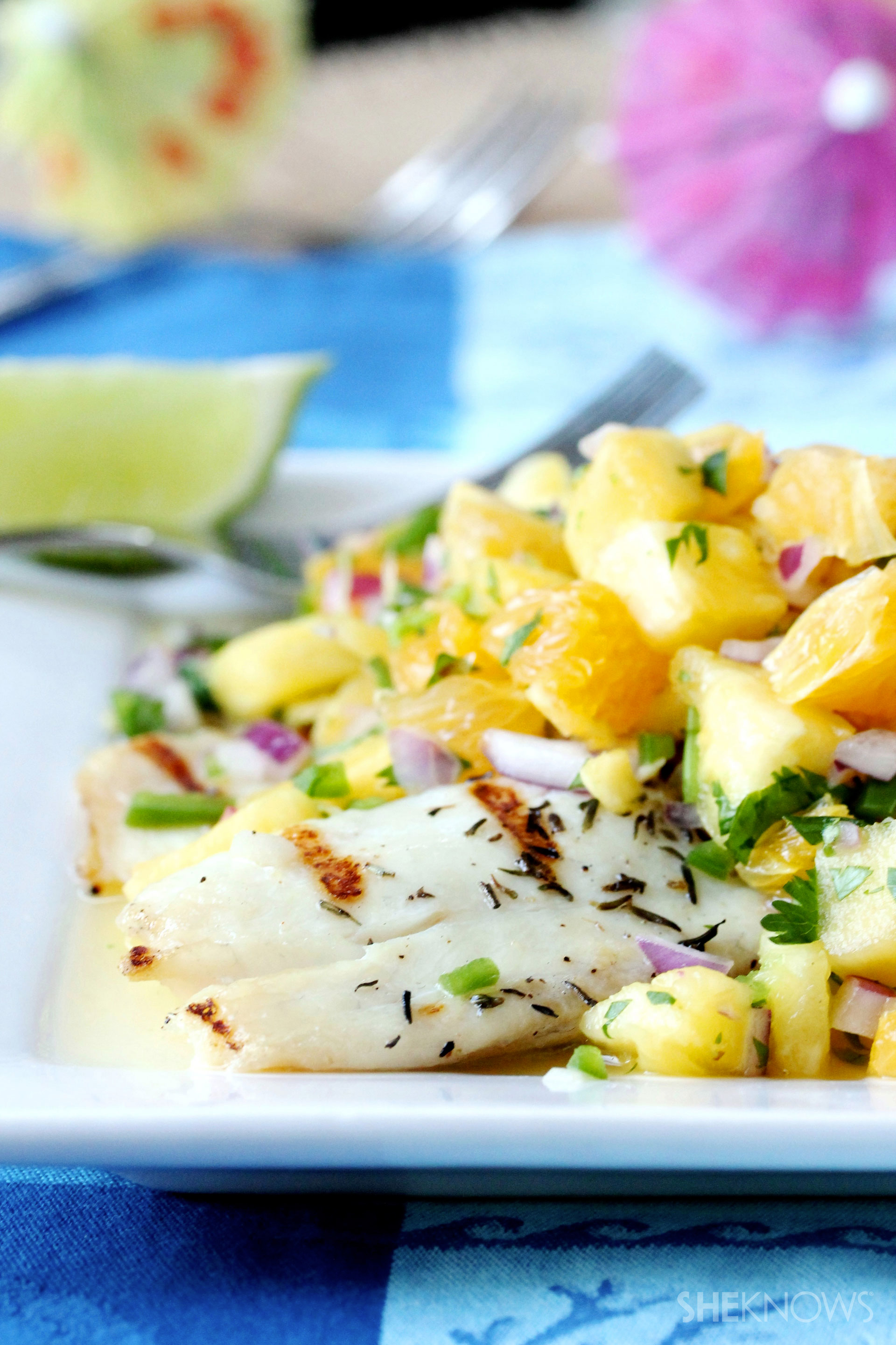Grilled tilapia with pineapple orange salsa recipe