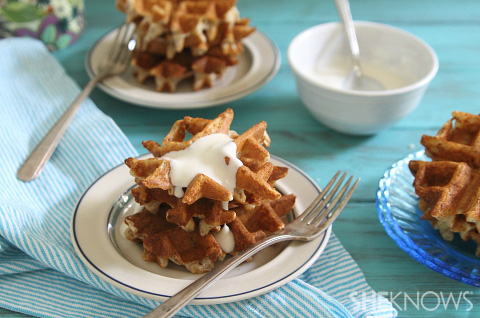 Banana waffle bites with maple yogurt sauce