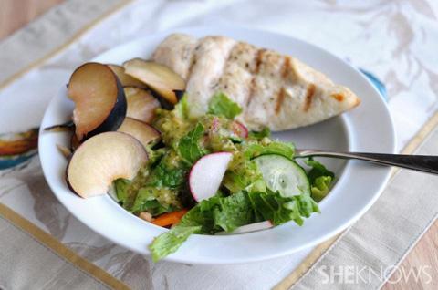 big green salad with cilantro-lime vinaigrette