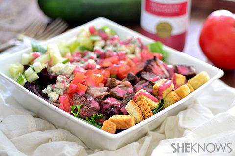 Leftover steak salad with raspberry vinaigrette