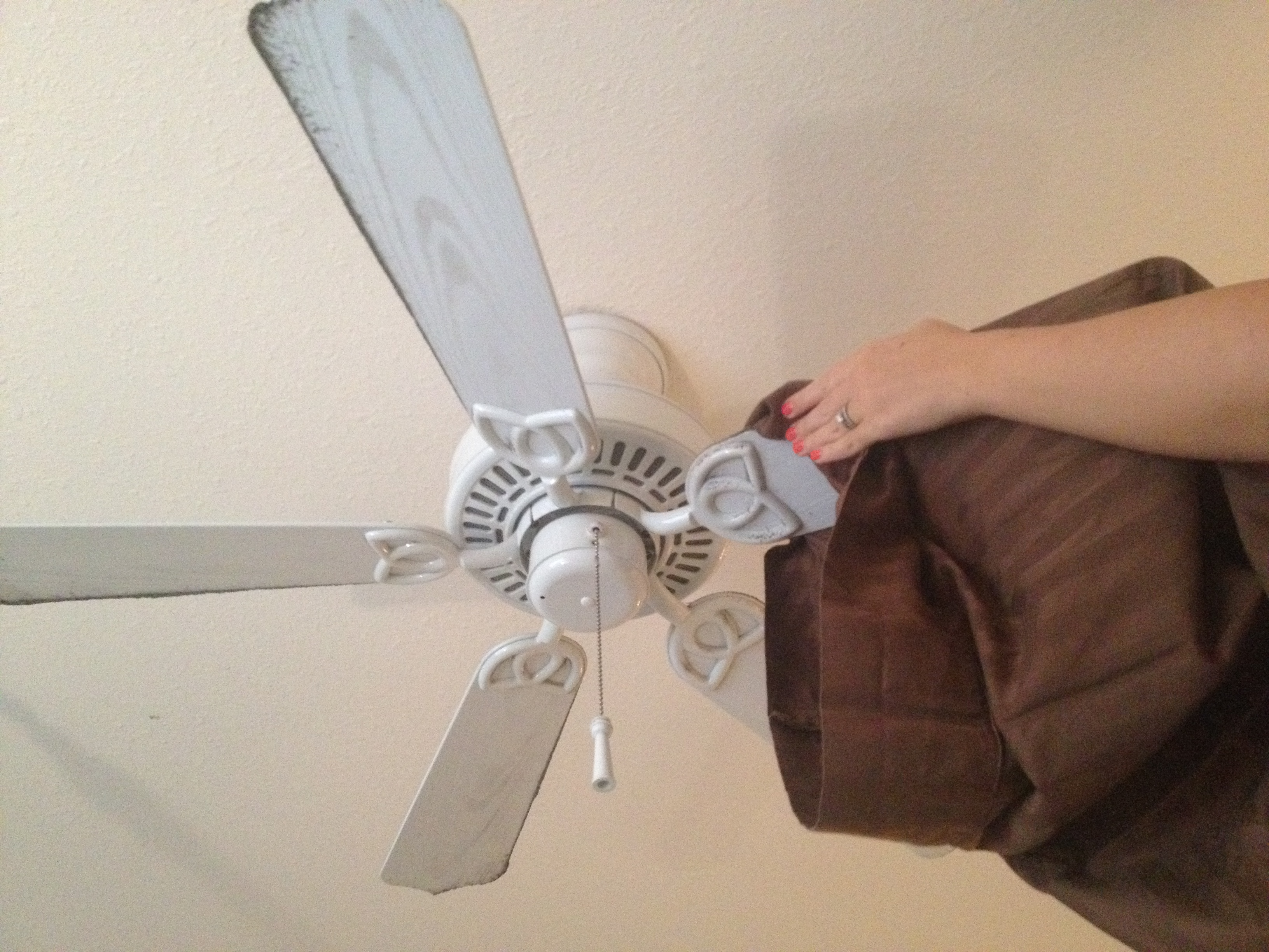 Wipe fan blades with a pillow case