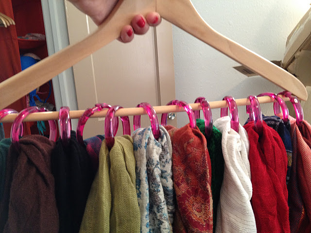 Hang your scarves with shower rings
