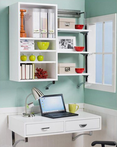 No room for a full-blown office? Wall-mounted desks are the way to go