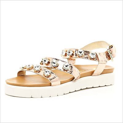 Gold Gemstone Embellished Flatform Sandals