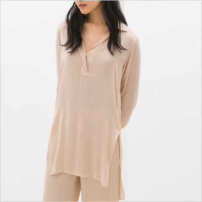 Zara Nude Tunic With Asymmetrical Hem
