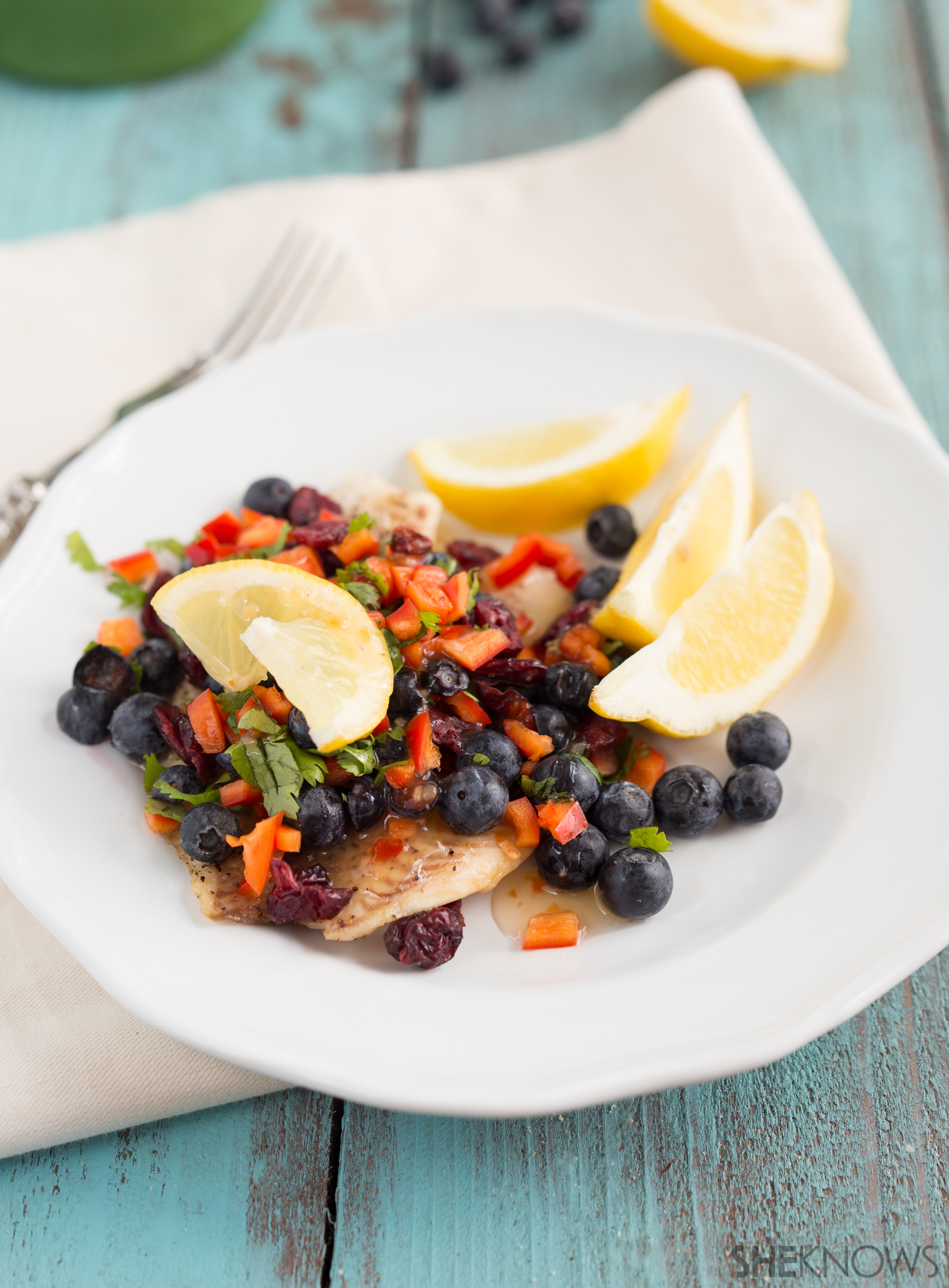 Grilled tilapia with a blueberry salsa