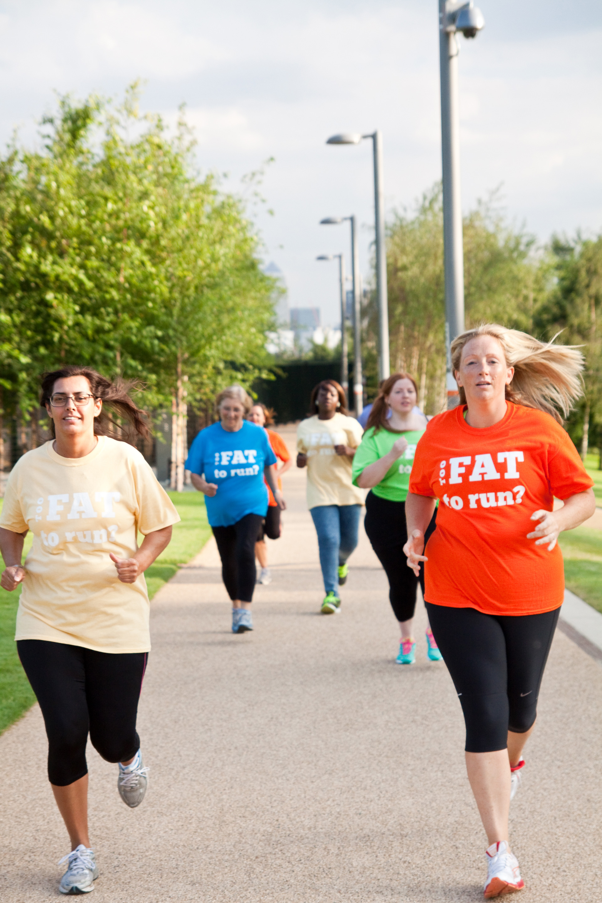 They said she was too fat to run, so she put it on a T-shirt